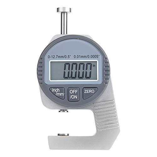 Medidor de espesor digital, indicador de espesor de 0-12.7 mm / 0.5con pantalla LCD grande, para medir el espesor de papel, tubería, chapa, resolución de 0.01 mm, caja de almacenamiento incluida