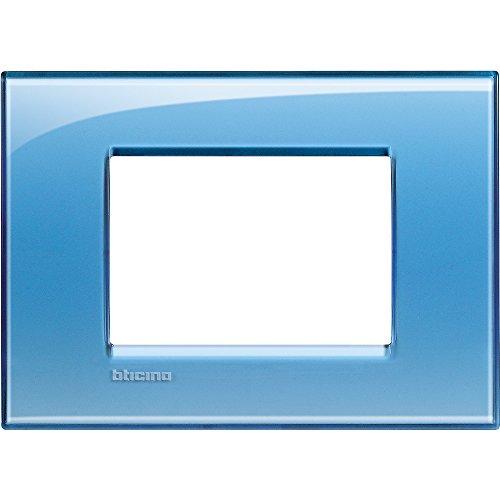 BTicino Livinglight Placca, 3 Moduli, Forma Rettangolare, Azzurro (Deep)