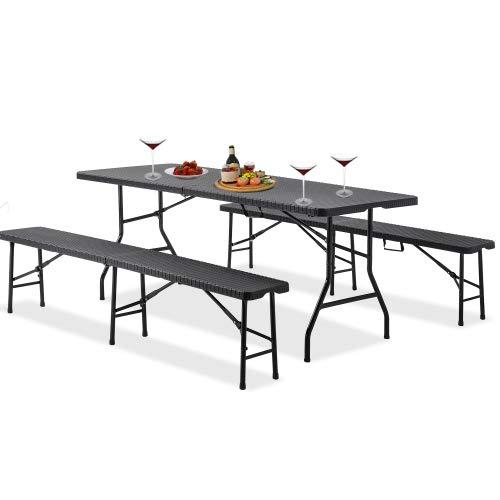 Jamiwe 3-teiliges zusammenklappbares Bierzelt-Set Leichtes tragbares Tisch- und Bank-Set Gartenmöbel für Camping, Picknick, Grill (Schwarz)