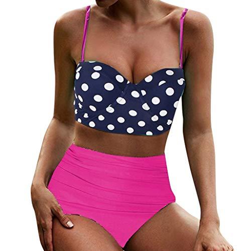 URIBAKY Traje De BañO De Verano para Mujer Bikini De Dos Piezas con Estampado De Punto Sujetador Bandeau Y Color SóLido Braguitas Traje De BañO Ropa De Playa CóModa