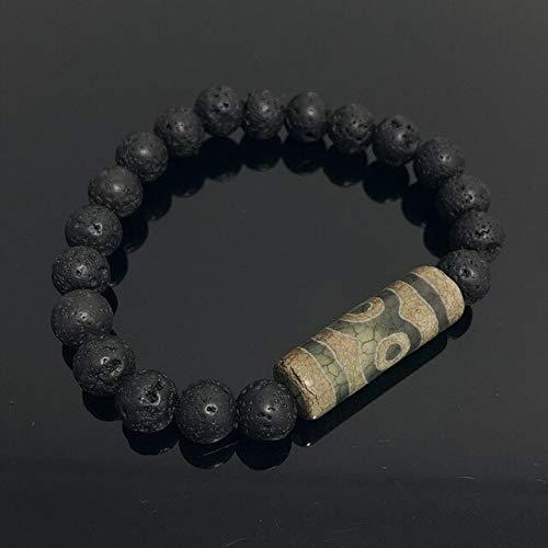 Landia Pulseras de ágatas tibetanas de 9 ojos para hombre, pulseras de ágatas Vintage, energía, gris, verde, Natural