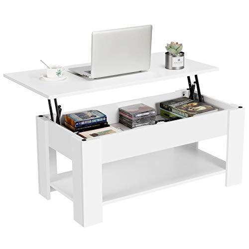 Yaheetech Tavolino da caffè sollevabile Tavolo Moderno Elevabile da Salotto Divano caffè con Ripiano Inferiore Bianco 98 x 50 x 41,8 cm Bianco