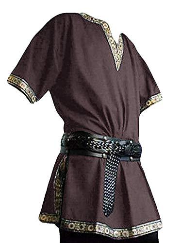 Mens Medieval Pirate Costume Renaissance Knight Viking Scottish Warrior Shirts Cosplay LARP Halloween Lace Tunic Tops