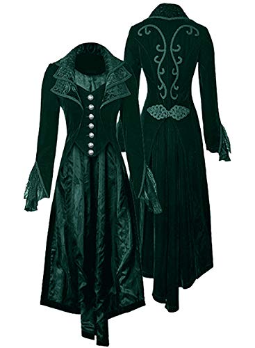 Women's Steampunk Gothic Vintage Jacket Victorian Tailcoat Long Trench Coat Jacket Halloween Costume (L, green)