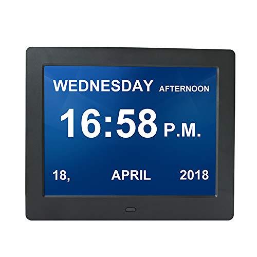 CNMF Digitale wekker, 8 inch, kalender, dag en uur (afkorting letters in 9 hoogwaardige talen, groot display, afstandsbediening), Alzheimer/dementie zwakke gelezen, horloge zwart