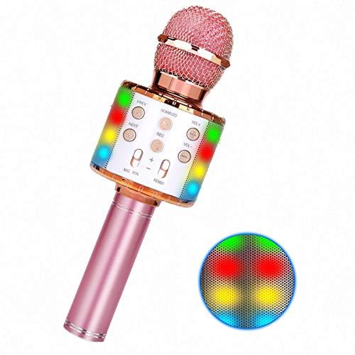 Karaoke Mikrofon Kinder,Drahtloses Bluetooth Karaoke Lautsprecher für KTV/Party die Aufnahme von Sprach Kompatibel Android IOS PC mit LED Licht (gold)