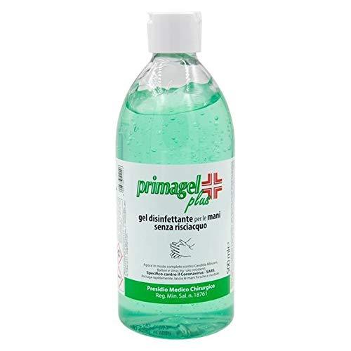 Primagel Plus - Gel desinfectante de manos sin enjuague, 500 ml, tapón dosificador, producto médico quirúrgico.