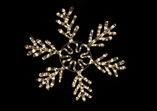 Queens of Christmas Warm White LED Ice 24' Rope-Lit Snowflake