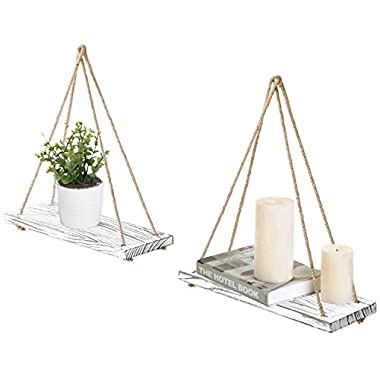 MyGift 17-inch Whitewashed Wood Hanging Rope Swing Shelves, Set of 2