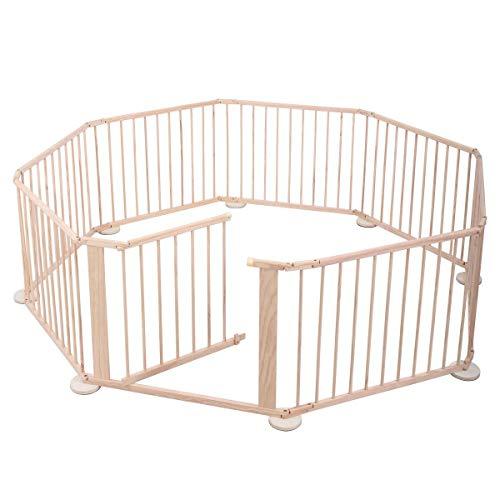 Baby Playpen 8 Panel Foldable Wooden Frame Kids Play Center Yard Indoor&Outdoor, Pink