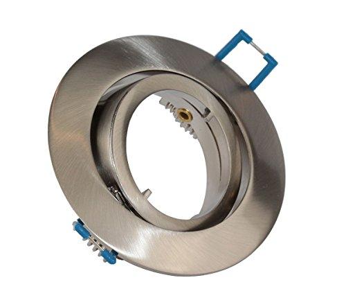 VBLED® Einbaustrahler Einbaurahmen in Silber Optik rund gebürstet schwenkbar inkl. GU10 Fassung für LED oder Halogen Flach mit Schnellverschluss