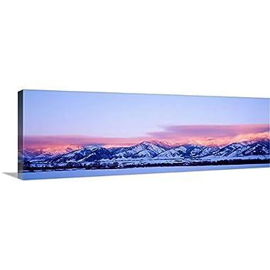 Canvas on Demand Premium Thick-Wrap Canvas Wall Art Print entitled Montana, Bozeman, Bridger Mountains, sunset 36 x12