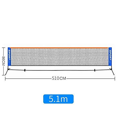 ZHONGYUAN Kinder-Tennisnetze Tragbare Kurznetze Outdoor-Netze Standard-Studentennetze Einfache Mobile Coaching-Ballnetzpfosten 5,1 Mio. [Netz + Regal] -5,1 Mio.