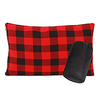 RedSwing Small Camping Pillow, Lightweight Compressible Flannel Travel Pillow with Removable Pillow Cover, Great for Travel Camping Backpacking