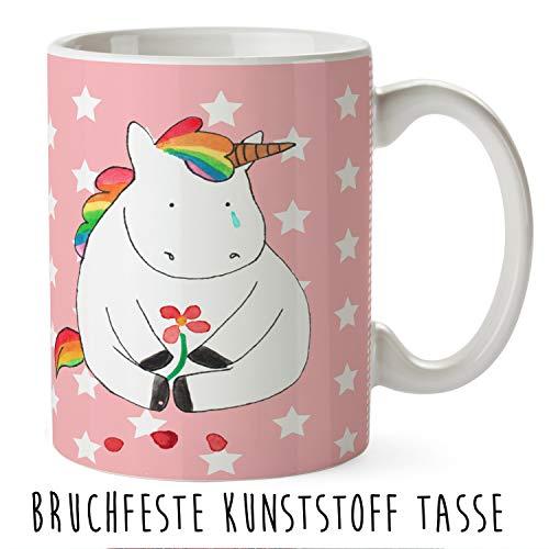 Mr. & Mrs. Panda Kindergarten, Tasse, Kindertasse Einhorn Traurig - Farbe Rot Pastell