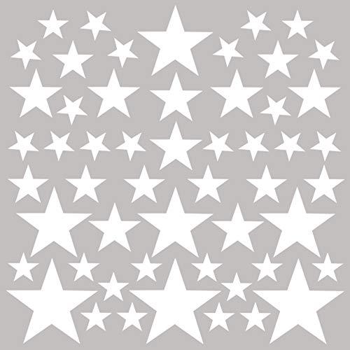 PREMYO 54 Sterne Wandsticker Kinderzimmer Mädchen Jungen - Wandtattoo - Wandaufkleber Selbstklebend Weiß