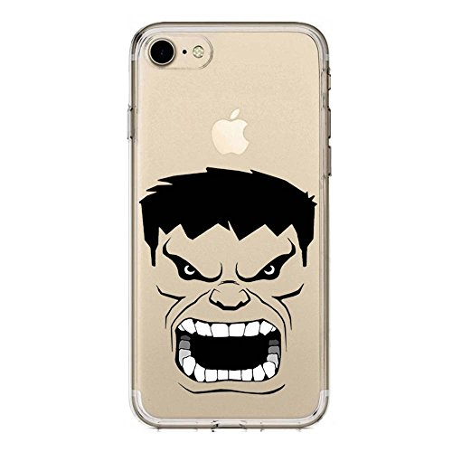 SLIDE IP7 / IP8 Cover TPU Gel Trasparente Morbida Custodia Protettiva, Cartoon, Black Hero Collection, Hulk Nero, iPhone 7, iPhone 8
