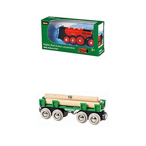 Brio World 33592 - Rote Lola Batterielok + Langholzwagen