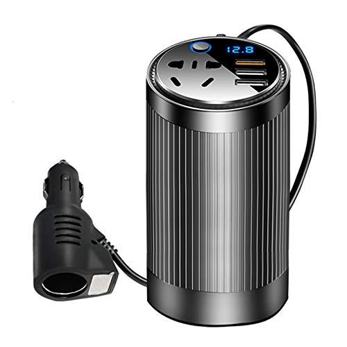 Inversor de Corriente para Coche 200W DC 12-24V a AC 220V Inversor de Corriente para Coche portátil con 1 tomacorriente de CA y 3 Puertos de Carga USB Adaptador convertidor de Cargador