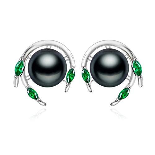 SALAN Joyería De Boda Esmeralda Pendientes De Perlas Pendientes De Piedras Preciosas Verdes Pendientes Nuevos para Mujer Plata De Ley 925