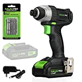 GALAX PRO 20 V Lithium Ion 1/4' Hex Cordless Impact Driver with LED Work Light, 6 Pieces Screwdriver Bits, Variable Speed (0-2800 RPM)- 1.3 Ah Battery and Charger Included