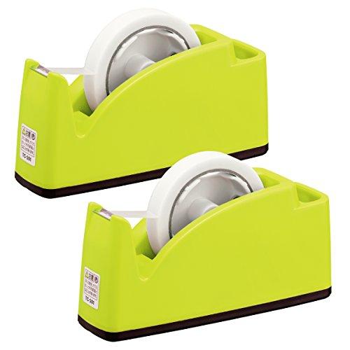 プラス テープカッター ペン立てポケット付き ライトグリーン 2個セット 31-242×2