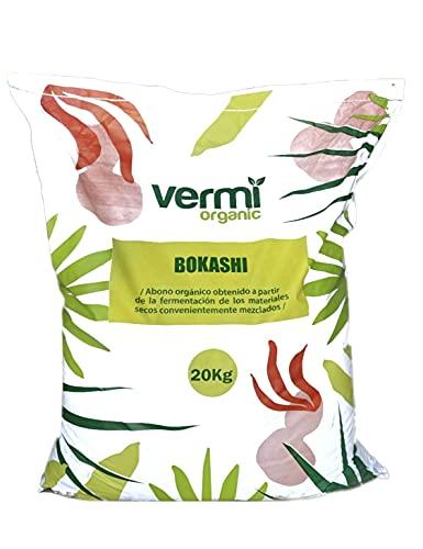VERMIORGANIC Bokashi, 20KG. Abono Orgánico Fermentado Activador de Las Rizobacterias promotoras del...