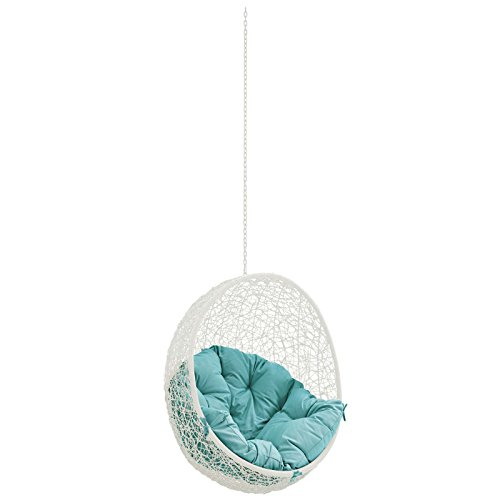 Modway Hide Outdoor Patio Swing Chair Without Stand, White Turquoise