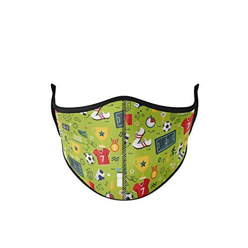 Mascarilla higiénica de tela reutilizable, estampado futbol niño, unisex, talla niños