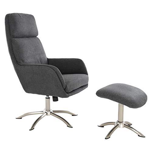 MACOShopde by MACO Möbel Raburg TV Sessel Bastian mit Hocker in GRAU, 360° drehbar - Armlehnen und hohe Rückenlehne mit Bezug aus Stoff Wohnzimmer-Relaxsessel