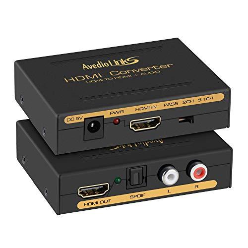 4K@30HZ HDMI Audio Extractor Splitter, avedio links HDMI mit HDMI Audio Converter + Optical Toslink SPDIF + RCA L/R Stereo Analog Audio, HDMI Audio Adapter für PS5, Chromecast, Fire Stick, Blu-Ray Player und mehr