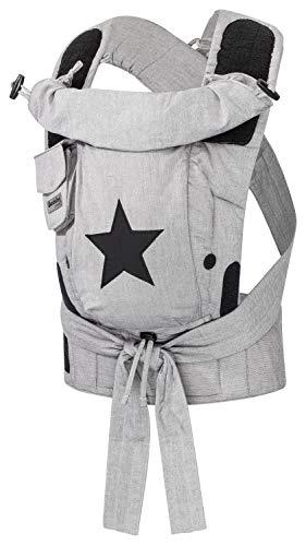 Bondolino Hoppediz ♥ Plus Babytrage ✓ ab Geburt ✓ Bauchtrage ✓ Rückentrage ✓ verstellbarer Steg Design, grau mit Stern