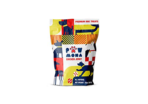 PAWMONA Chicken Jerky Treats, All-Natural, Made with Real Chicken in Georgia - Premium Treat for Small and Large Dogs, 2 lb. Bag - Great Gift for Dog Lovers