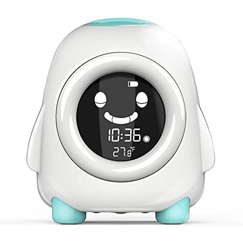 yui Reloj despertador LED creativo con detector de temperatura y entrenamiento para dormir digital inteligente despertar luz nocturna reloj despertador para niños