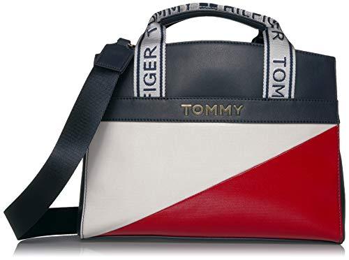 Tommy Hilfiger Large Cassie Satchel, Navy/Red/White