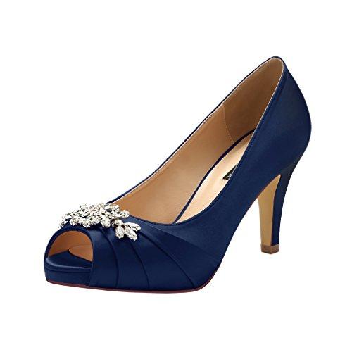 ERIJUNOR E0055 Peep Toe Mid Heels for Woman Rhinestones Satin Evening Prom Wedding Shoes Navy Size 8