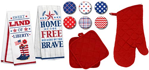 Charmed By Dragons Modern Farmhouse Kitchen Towel Set with Pot Holders Oven Mitt and Set of 6 Refrigerator Magnets Modern Farmhouse Decor (Patriotic RED)
