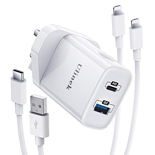 Ulinek 20W iPhone Fast Charger Plug 2 Ports With 2m 2 Cables MFi USB C & A to Lightning Quick Charge 3.0 Wall Charger Adapter Compatible with iPhone 11 12 Pro XR X XS 8 Plus 7 6s iPad Pro