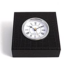Bey-Berk D1517 Black Croco Leather Quartz Clock with Silver Plated Accents