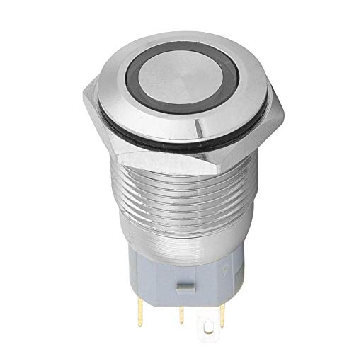 Interruptor de botón pulsador momentáneo Metal IP65 Impermeable Eléctrico 40Pcs 12VDC Tamaño...