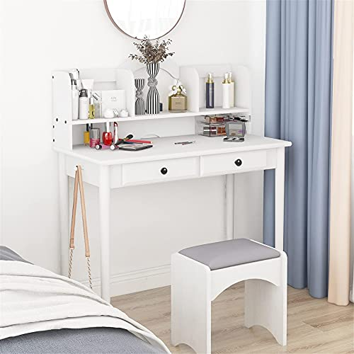 39' White Writing Computer Desk for Home Office Study Bedroom, Vanity Desk with Floating Hutch and 2 Drawers, Small Space Laptop Workstation Executive Desk - Makeup Dressing Table