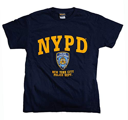 NYPD T-Shirt, kurzärmlig, Marineblau mit gelbem Aufdruck Gr. Small, navy