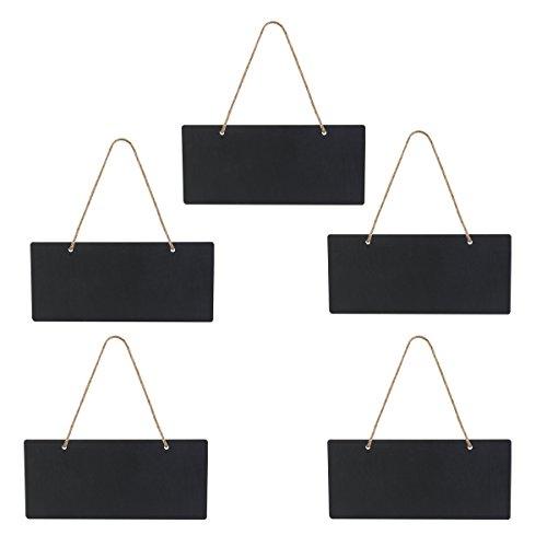 ROSENICE Mini Lavagnette rettangolari da Appendere in Legno con Corda di 18x8 cm 5PCS