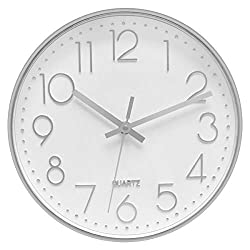 Foxtop Modern Decorative Silent Non-Ticking Battery Operated Silver Wall Clock for Office Home Living Room (12 inch, Arabic Numeral, Glass Cover)