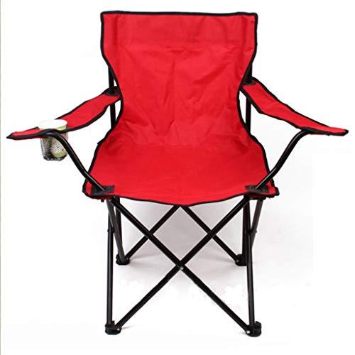 Stühle Tragbarer Klappstuhl, Einstückiger Außenstuhl Mit Armlehnen, Dauerhafter Oxford-Tuch Verdickter Stahlrohrfischereistuhl Geeignet Für Campingwanderung Picknick Angeln Etc (Color : Red)
