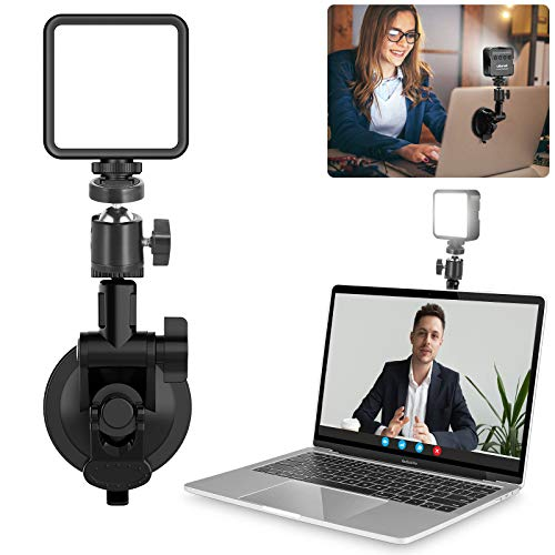 Conference Lighting Kit w Suction Mount, Mini Pocket Light, Brightness Adjustable for Video Zoom Calls, Broadcasting, Live Streaming Compatible with MacBook iPad Laptop Desktop Shooting Accessories