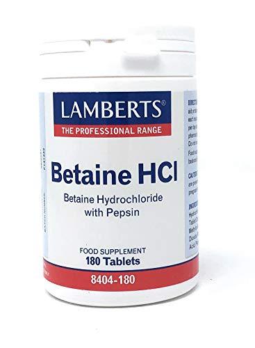 LAMBERTS BETAINE HCL met PEPSIN (een hulpmiddel bij de spijsvertering) 180 tabletten