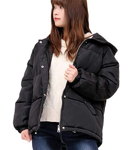 [HAFOS] ダウンコート レディース ダウンジャケット ショート丈 フード付き ゆったり 厚手コート 綿 防寒 軽量 アウター M~2XLサイズ (ブラック, M)