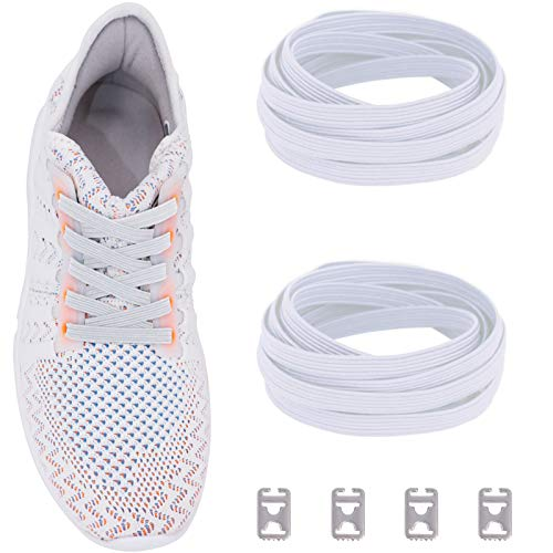 No Tie Shoelaces with Elastic Band and Stainless Steel Tabs, Ceratown No Knot Tieless Stretch Replacement Shoelaces for all Kid and Adult Shoes Color: White