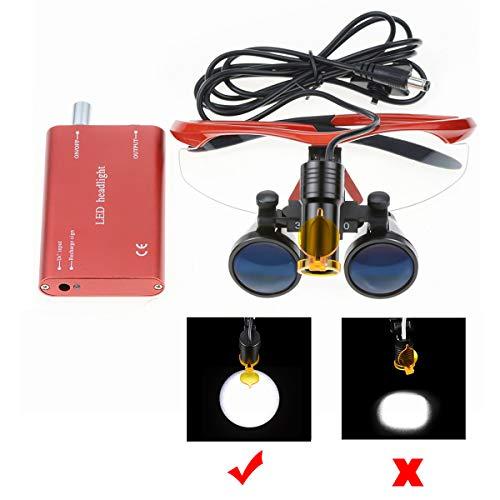 GoDen 2.5倍メガネ式拡大鏡 2.5X拡大鏡+LEDライト 双眼ルーペ 5Wランプ 距離調整可 角度調整可 フィルター付き 収納ケース付き ポータブル型 (赤色)